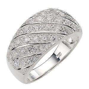 Sterling Silver Cubic Zirconia Ring - Size P