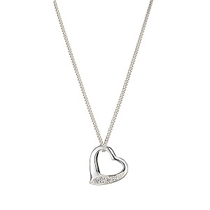 Sterling Silver Cubic Zirconia Set Heart Pendant - Product number 8001006