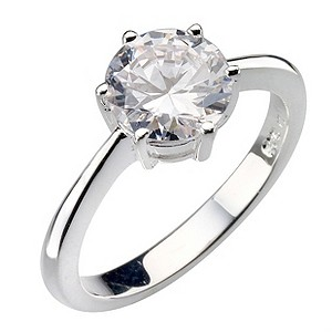 Sterling Silver Round Cubic Zirconia Solitaire Ring - Size L