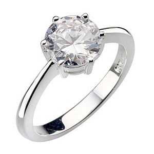 Sterling Silver Round Cubic Zirconia Solitaire Ring - Size N