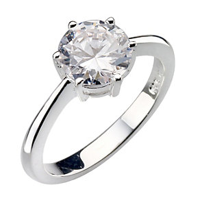 Sterling Silver Round Cubic Zirconia Solitaire Ring - Size N - Product number 8001022