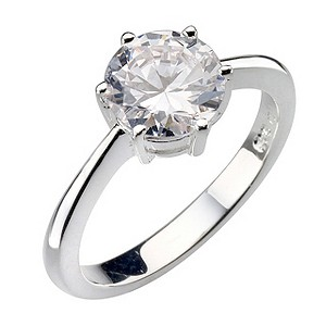 Sterling Silver Round Cubic Zirconia Solitaire Ring - Size P