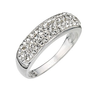 Sterling Silver Crystal Set Ring - Size P