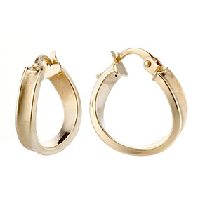 9ct gold twisted satin creole earrings - Product number 8001561