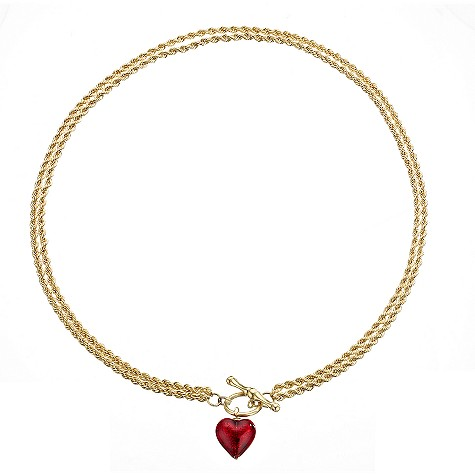 9ct gold and red Murano glass heart two row T-bar necklace