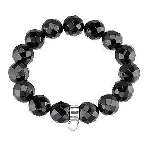 Sterling Silver and Onyx Charm Bracelet