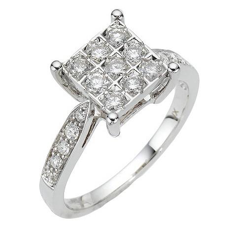 18ct white gold half carat diamond square cluster ring