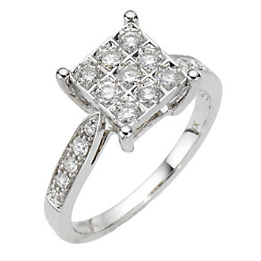18ct white gold half carat diamond square cluster ring - Product number 8004919