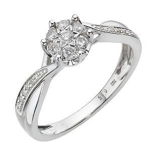 Ct White Gold Quarter Carat Diamond Cluster Ring