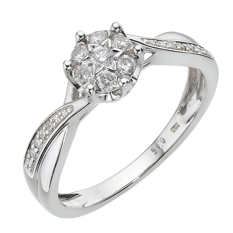 18ct white gold quarter carat diamond cluster ring - Product number 8005443