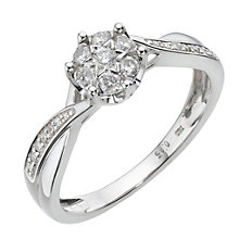 18ct white gold 0.25ct diamond cluster ring - Product number 8005443