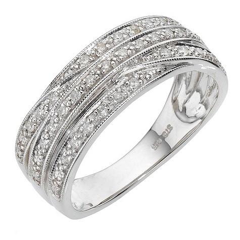 9ct white gold 15 point diamond cross over ring