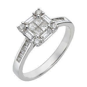 18ct white gold three quarter carat diamond cluster ring - Product number 8007047