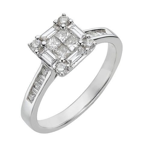 18ct white gold three quarter carat diamond cluster ring