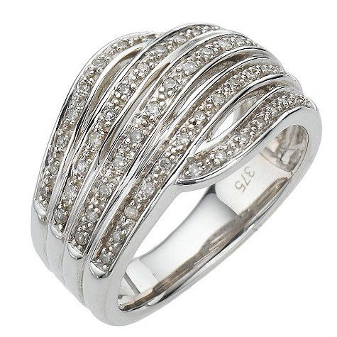 9ct white gold fifth carat diamond five row ring