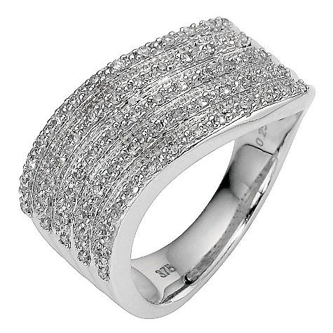 9ct white gold quarter carat diamond wave ring