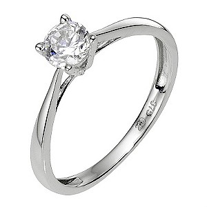 9ct White Gold Cubic Zirconia Solitaire  Children's Ring F - Product number 8008639