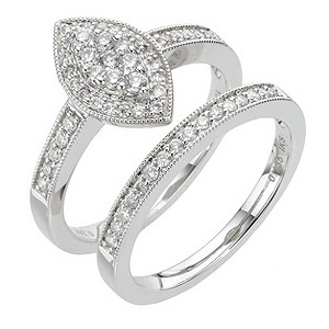 18ct white gold half carat diamond bridal set - Product number 8009333
