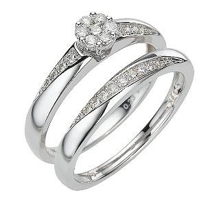 9ct white gold 30pt brilliant cut diamond bridal set - Product number 8009996