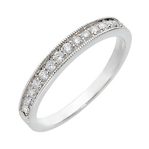 9ct white gold quarter carat diamond mill grain ring - Product number 8012644