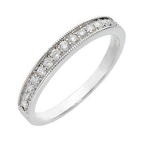 9ct white gold quarter carat diamond mill grain ring - Product number 8012644