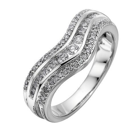 18ct white gold half carat diamond wave ring