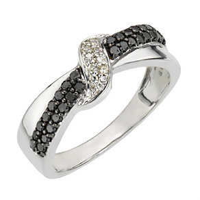 9ct white gold 0.33 ct white & treated black diamond ring - Product number 8015899