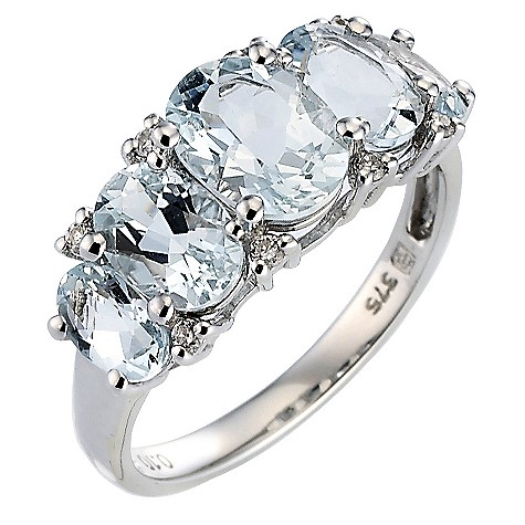 9ct white gold diamond and aquamarine five stone ring