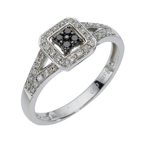 9ct white gold fifth carat black coloured diamond ring
