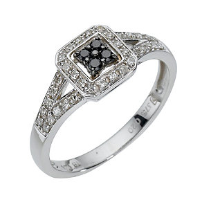 9ct white gold 1/5 carat treated black diamond ring - Product number 8016550