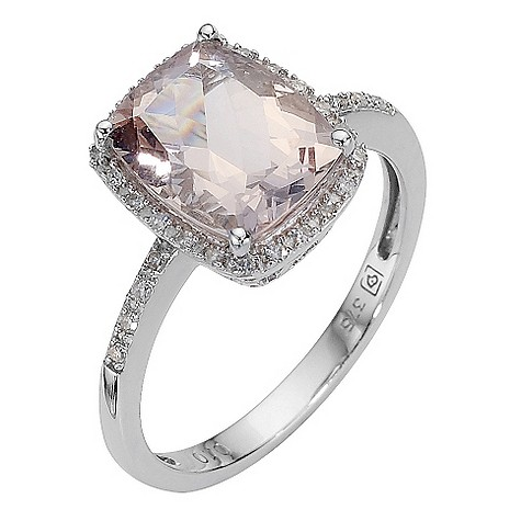 9ct white gold morganite and diamond ring