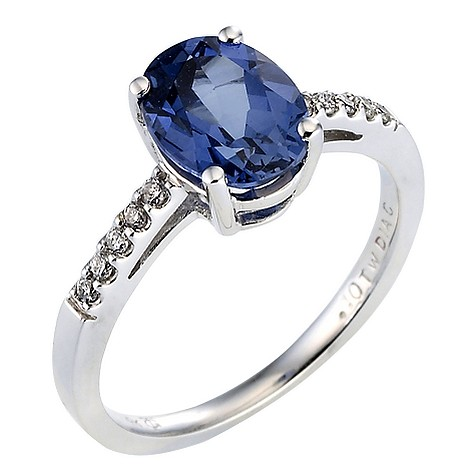 9ct white gold created sapphire diamond ring
