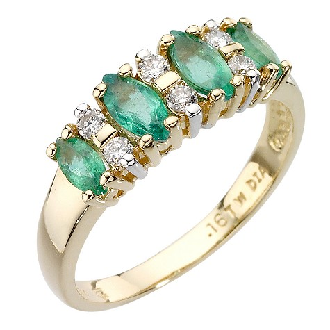 18ct gold marquise cut emerald and diamond ring