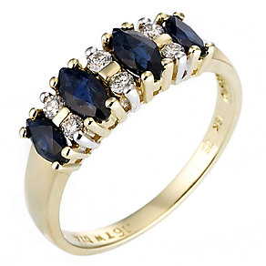 18ct yellow gold sapphire and diamond ring - Product number 8017352