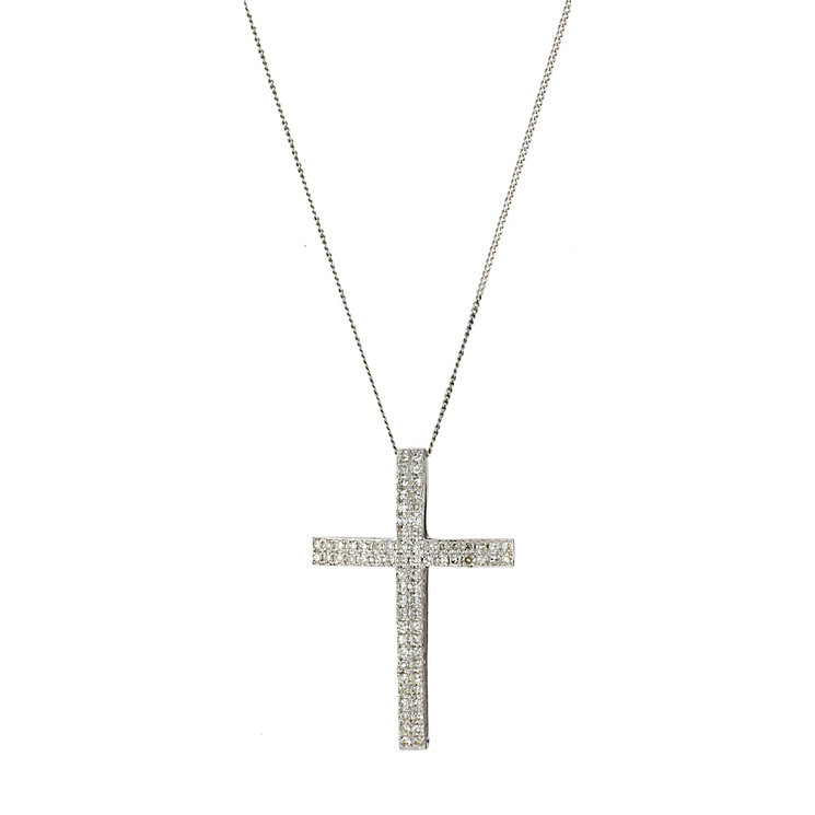 9ct white gold 0.50ct diamond cross pendant - Product number 8017603