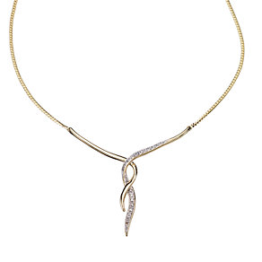 9ct gold diamond set swirl necklace - Product number 8017824