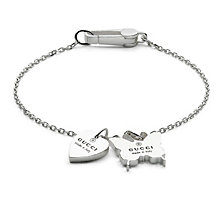Gucci sterling silver heart & butterfly charm bracelet 18cm - Product number 8018324