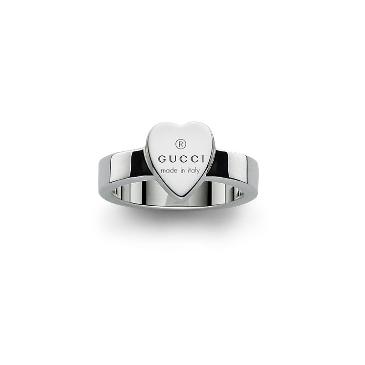 Gucci Trademark sterling silver heart ring - size M-N - Product number 8018367