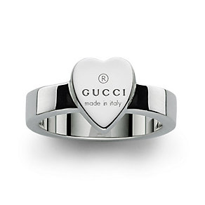 Gucci Trademark sterling silver heart ring - size O - Product number 8018375