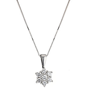 18ct white gold half carat diamond daisy cluster pendant - Product number 8018839
