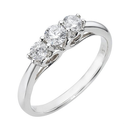 9ct white gold half carat diamond trilogy ring