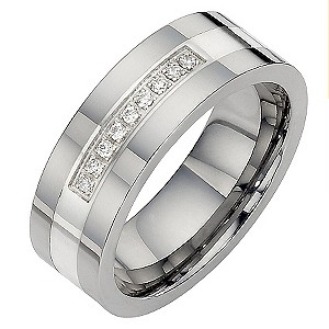 Tungsten Diamond Set Ring