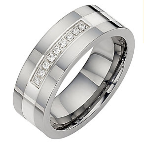 Silver And Tungsten Diamond Set Ring - Product number 8021805