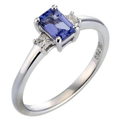 18ct white gold certificated tanzanite and diamond ring Ernest Jones