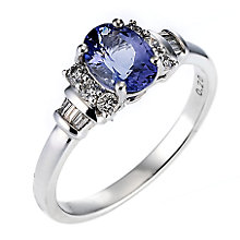 18ct white gold certificated tanzanite and diamond ring - Product number 8022526