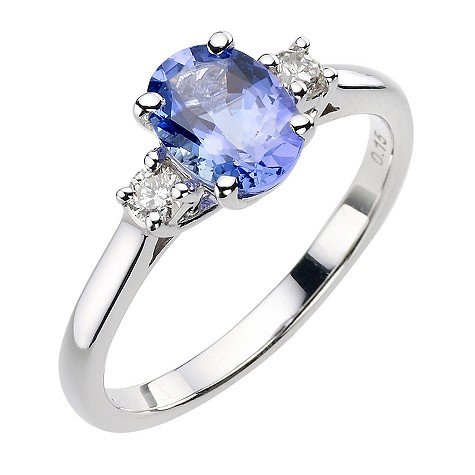18ct white gold certificated tanzanite and diamond ring