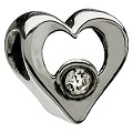 Chamilia - sterling silver cubic zirconia heart bead - Product number 8024731