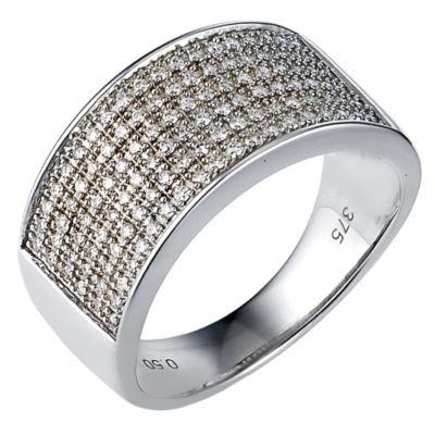 9ct White Gold Mens Half Carat Pave Diamond Ring Ernest Jones