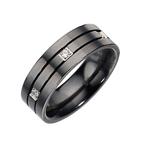 Black Titanium Diamond Set 6mm Ring - Product number 8029466