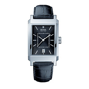 Hugo Boss men's rectangular dial black leather strap watch - Product number 8037914
